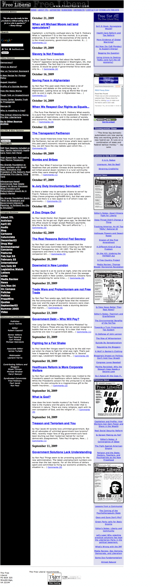 Before: The Free Liberal homepage